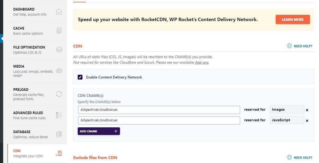 WP Rocket proper CDN settings